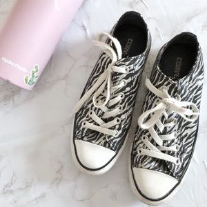 Converse Sparkly Black and White Zebra Print Shoes